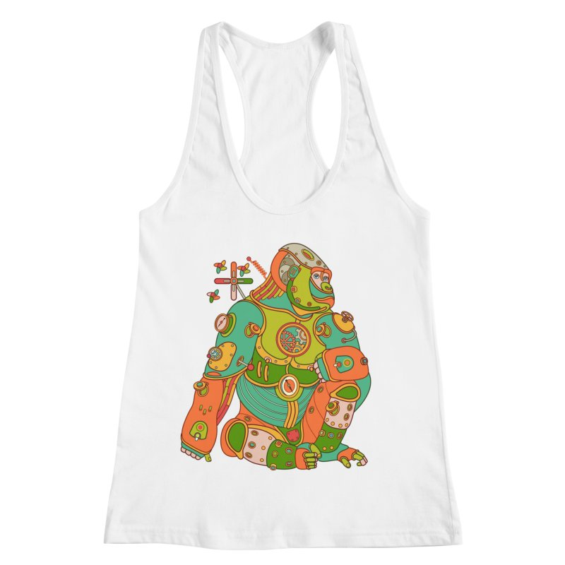 Gorilla, cool art from the AlphaPod Collection Women's Racerback Tank by AlphaPod