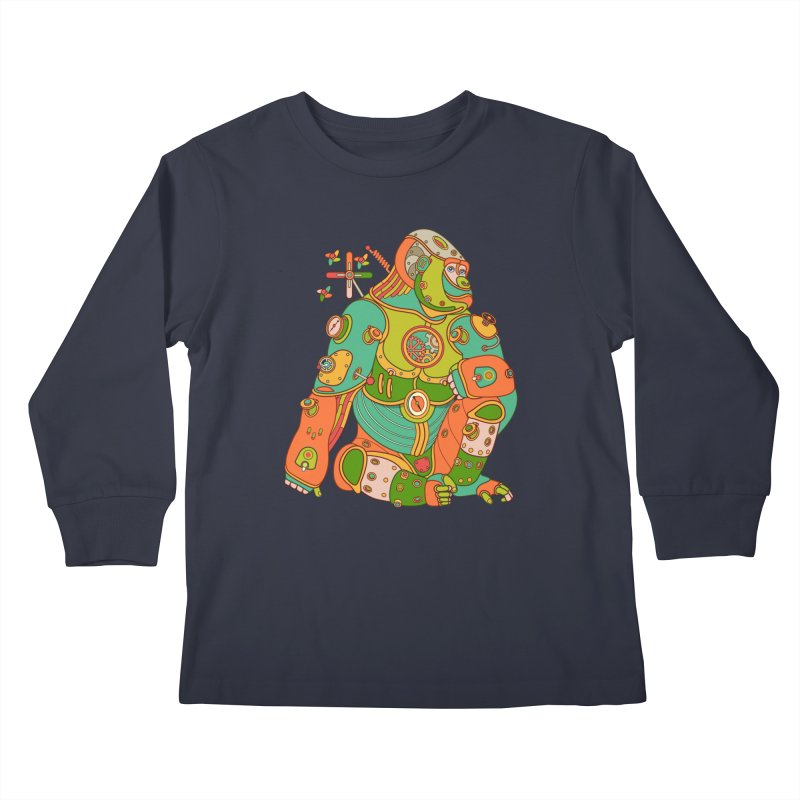 Gorilla, cool art from the AlphaPod Collection Kids Longsleeve T-Shirt by AlphaPod