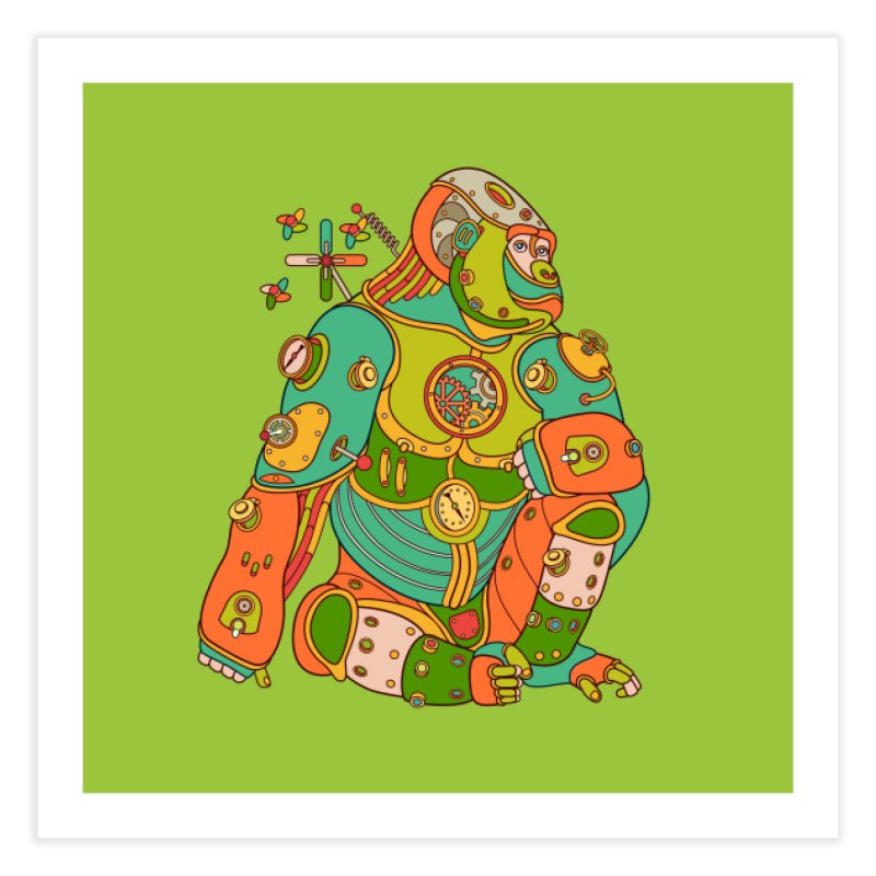 Gorilla, cool wall art for kids and adults alike Home Fine Art Print by AlphaPod