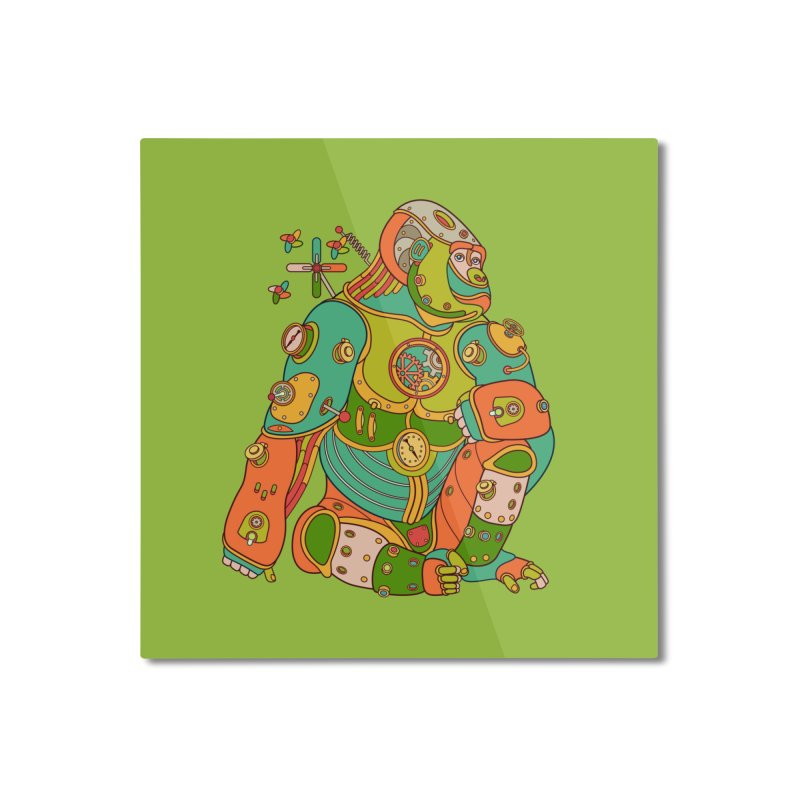 Gorilla, cool wall art for kids and adults alike Home Mounted Aluminum Print by AlphaPod