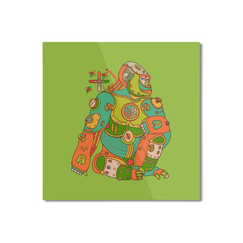 Gorilla, cool art from the AlphaPod Collection Home Mounted Aluminum Print by AlphaPod