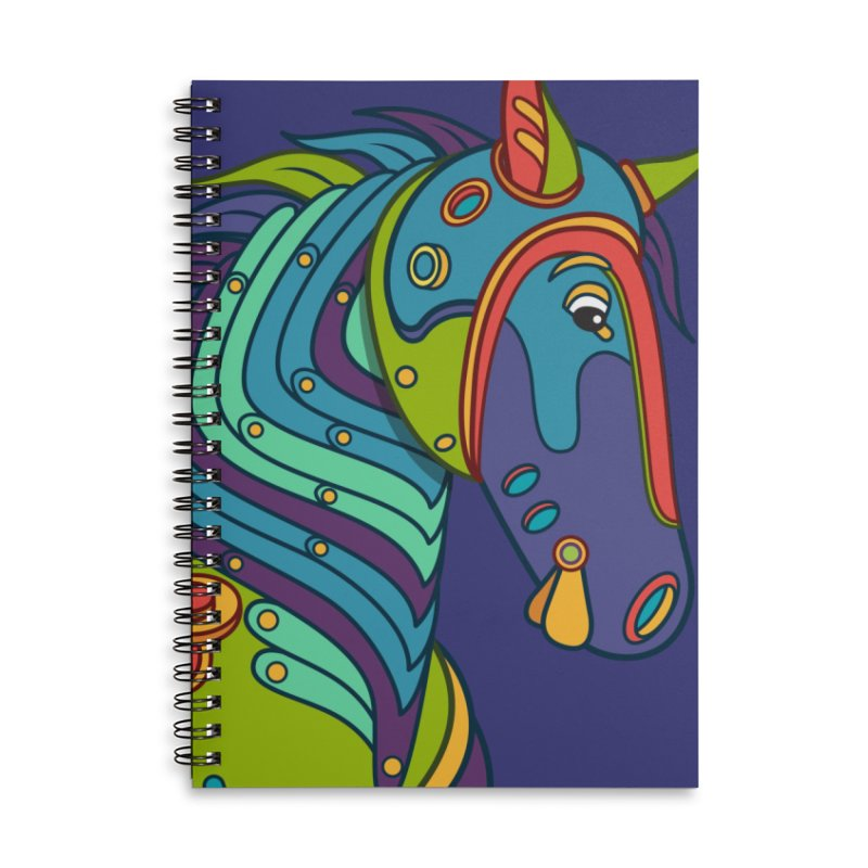 Horse, cool art from the AlphaPod Collection Accessories Lined Spiral Notebook by AlphaPod
