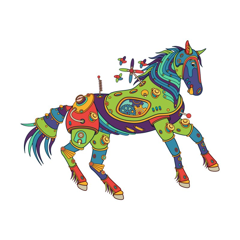 Horse, cool art from the AlphaPod Collection Kids T-Shirt by AlphaPod