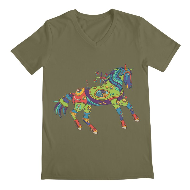 Horse, cool art from the AlphaPod Collection Men's Regular V-Neck by AlphaPod