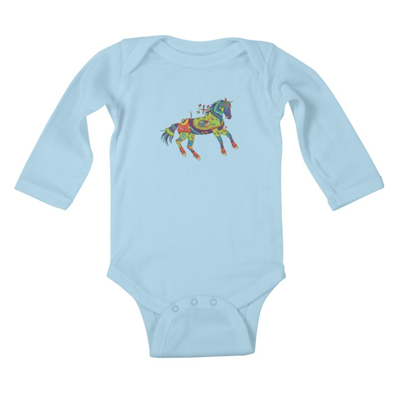 Horse, cool wall art for kids and adults alike Kids Baby Longsleeve Bodysuit by AlphaPod