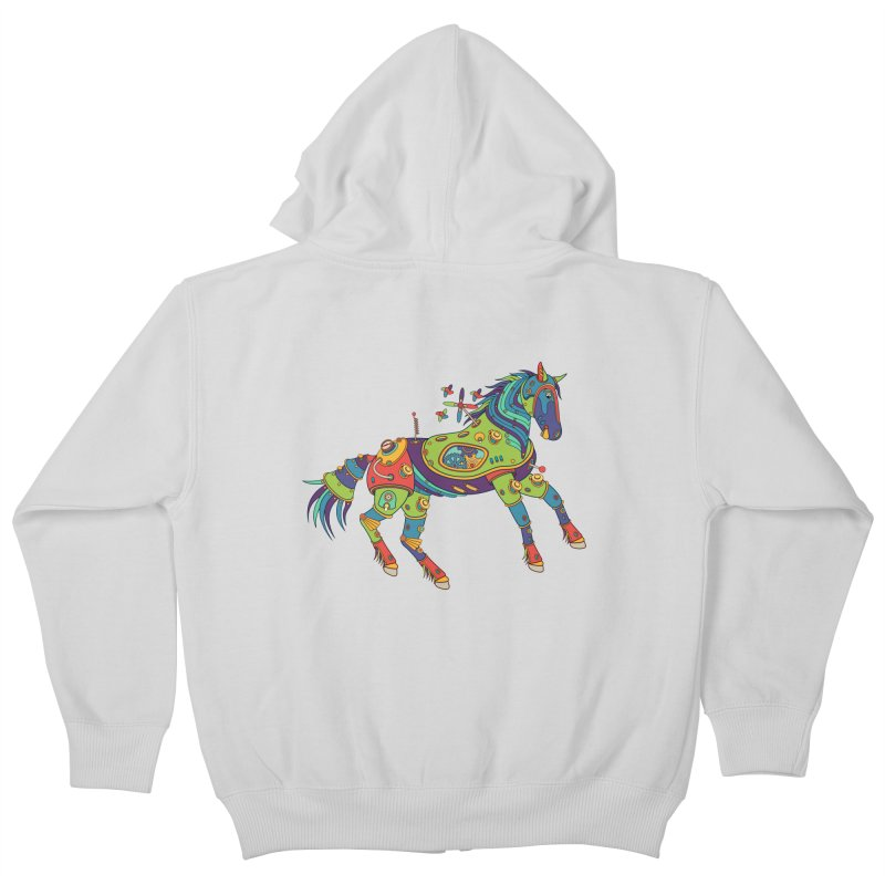 Horse, cool art from the AlphaPod Collection Kids Zip-Up Hoody by AlphaPod