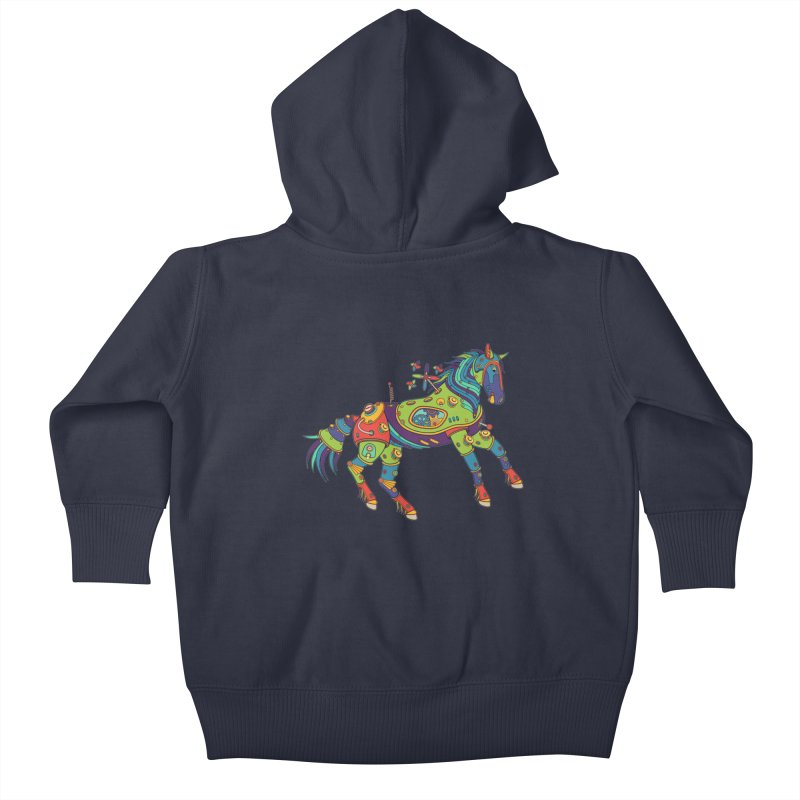 Horse, cool wall art for kids and adults alike Kids Baby Zip-Up Hoody by AlphaPod