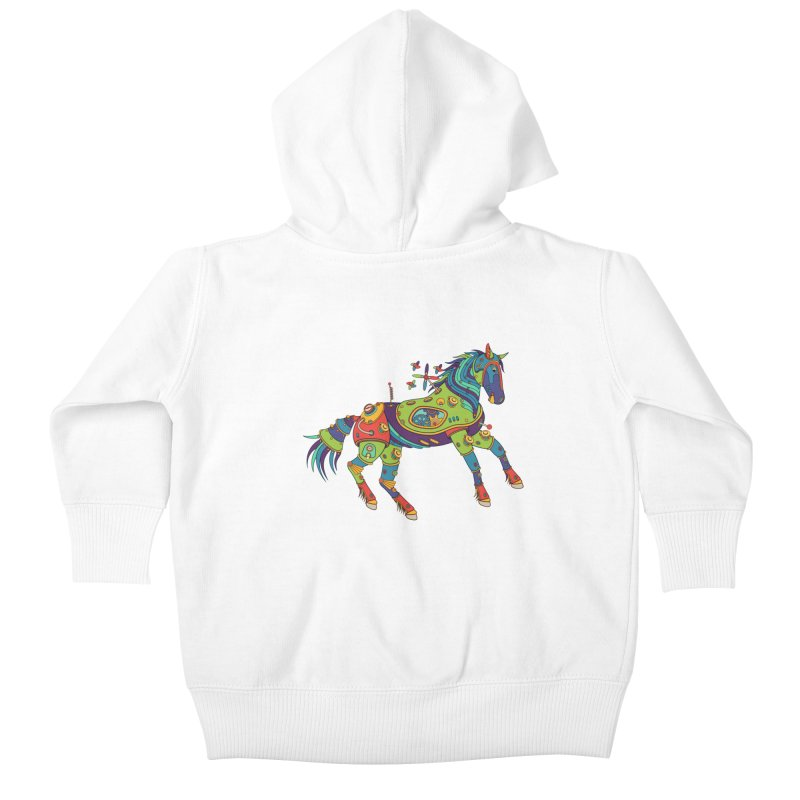 Horse, cool art from the AlphaPod Collection Kids Baby Zip-Up Hoody by AlphaPod