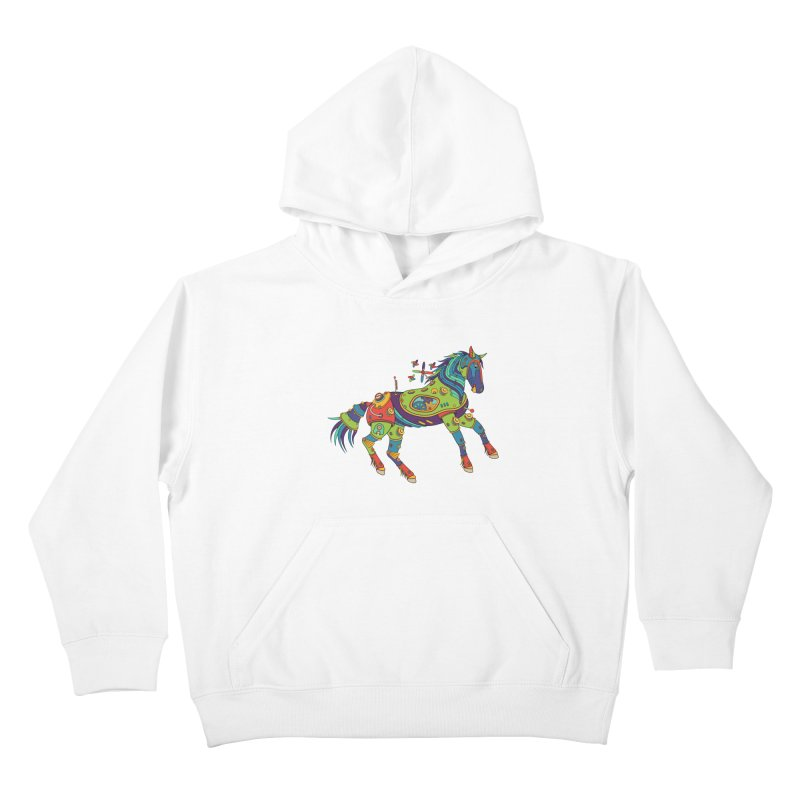 Horse, cool wall art for kids and adults alike Kids Pullover Hoody by AlphaPod