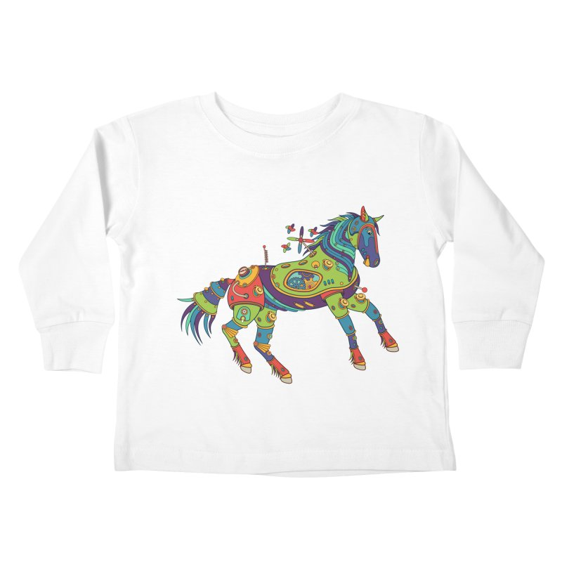Horse, cool art from the AlphaPod Collection Kids Toddler Longsleeve T-Shirt by AlphaPod