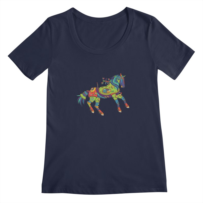 Horse, cool art from the AlphaPod Collection Women's Regular Scoop Neck by AlphaPod