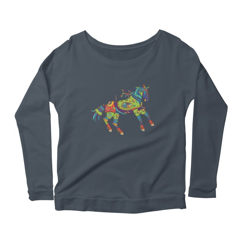 Horse, cool art from the AlphaPod Collection Women's Scoop Neck Longsleeve T-Shirt by AlphaPod