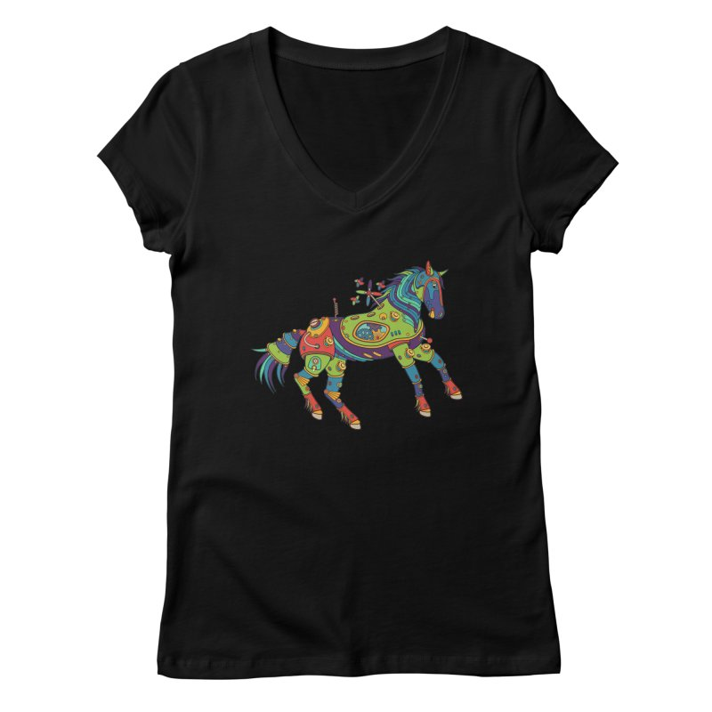 Horse, cool wall art for kids and adults alike Women's V-Neck by AlphaPod