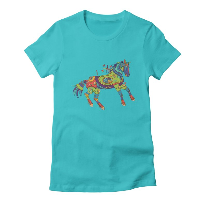 Horse, cool wall art for kids and adults alike Women's Fitted T-Shirt by AlphaPod