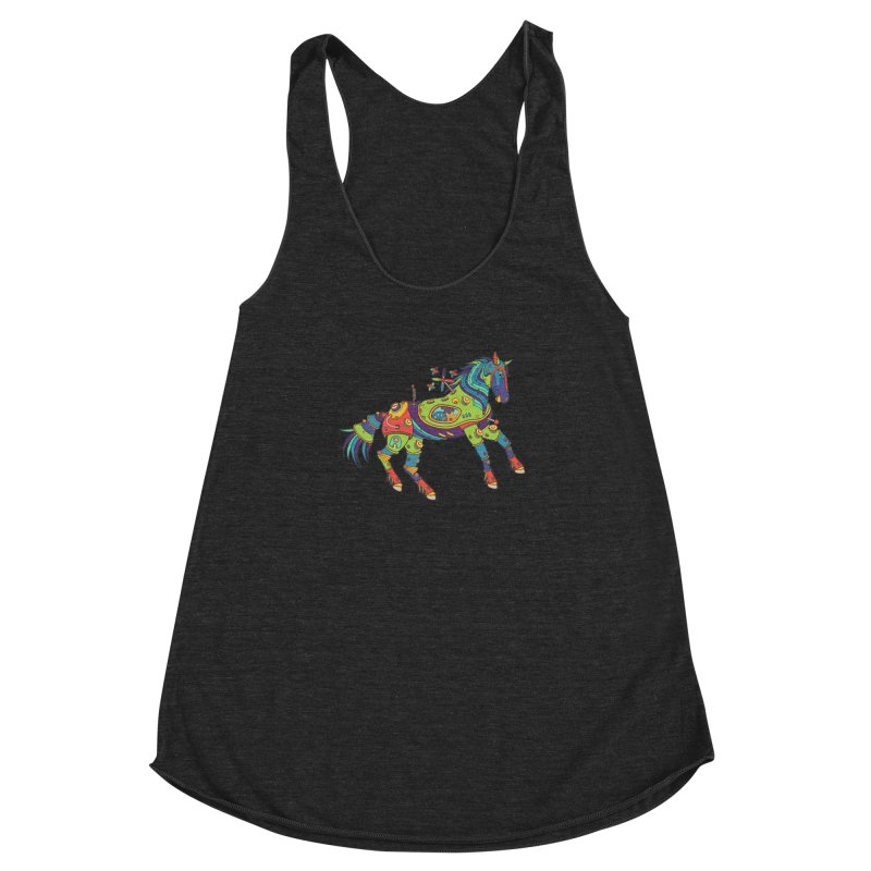 Horse, cool art from the AlphaPod Collection Women's Racerback Triblend Tank by AlphaPod