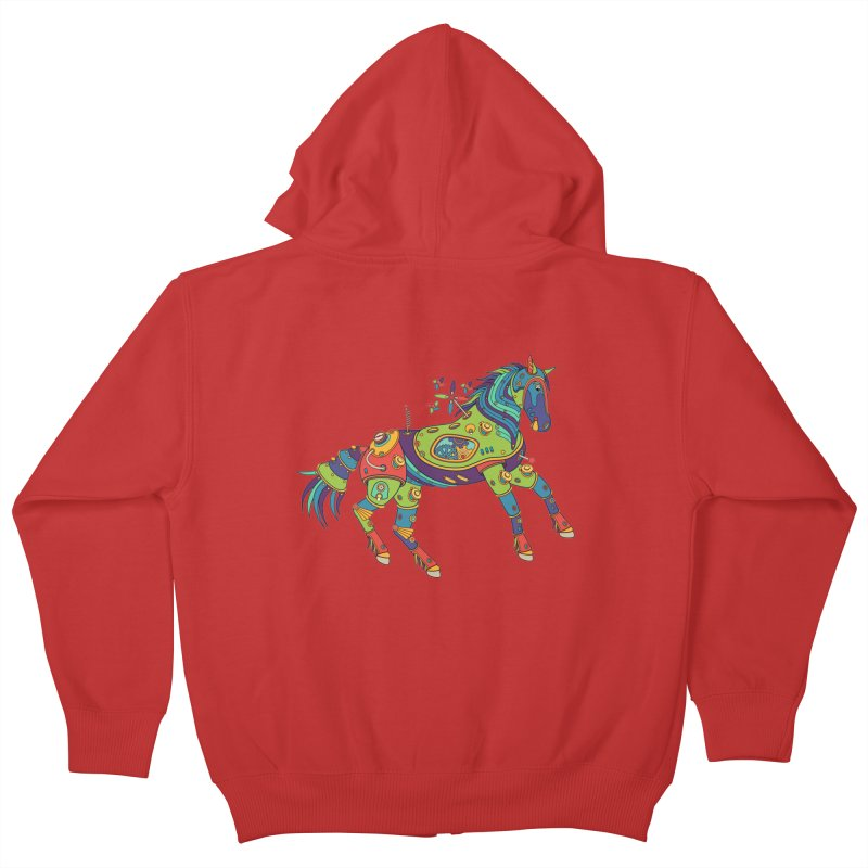 Horse, cool wall art for kids and adults alike Kids Zip-Up Hoody by AlphaPod