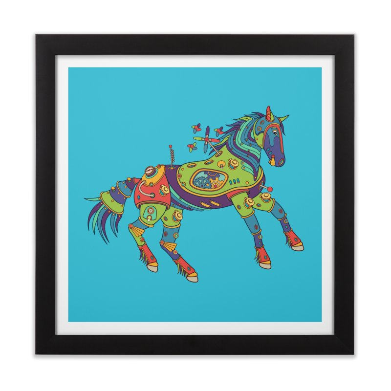 Horse, cool wall art for kids and adults alike Home Framed Fine Art Print by AlphaPod