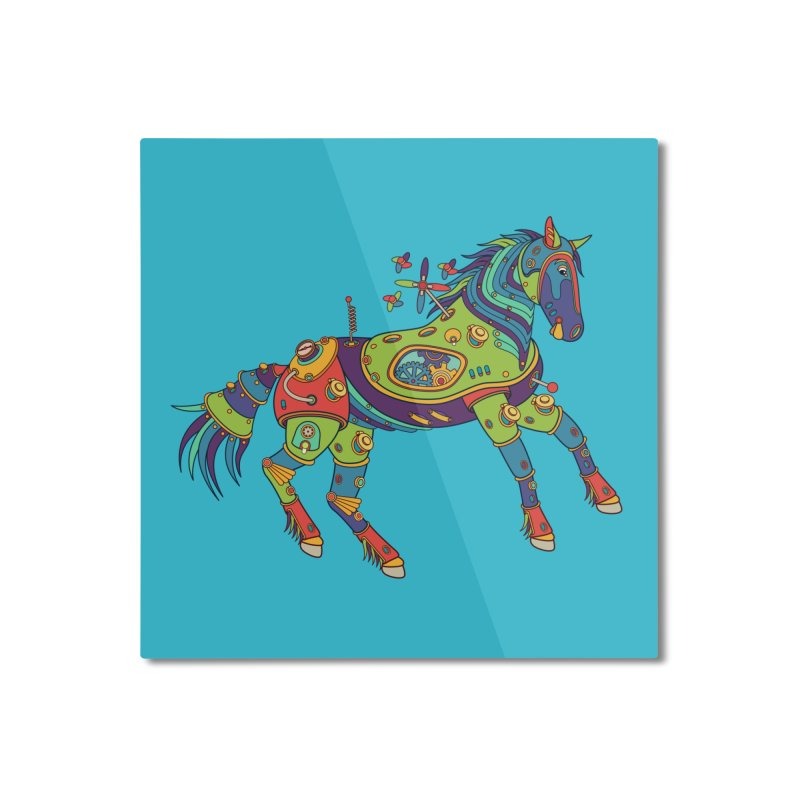 Horse, cool wall art for kids and adults alike Home Mounted Aluminum Print by AlphaPod