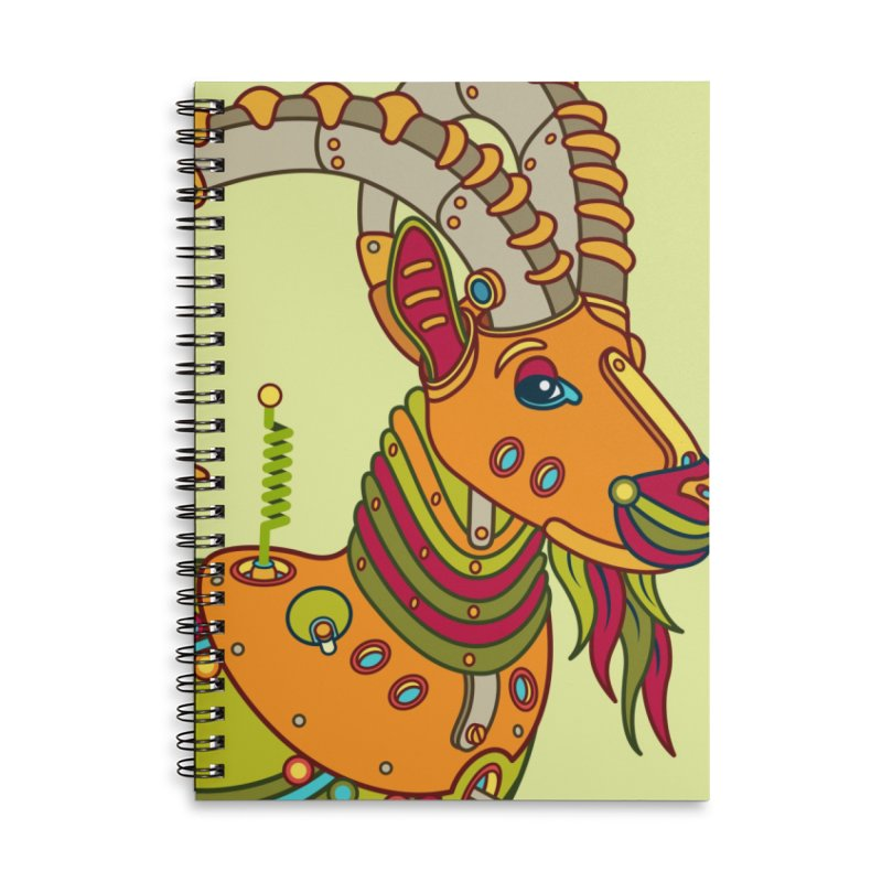 Ibex, cool art from the AlphaPod Collection Accessories Lined Spiral Notebook by AlphaPod