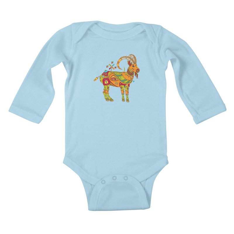 Ibex, cool art from the AlphaPod Collection Kids Baby Longsleeve Bodysuit by AlphaPod