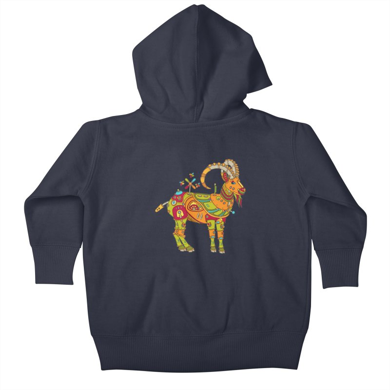 Ibex, cool wall art for kids and adults alike Kids Baby Zip-Up Hoody by AlphaPod