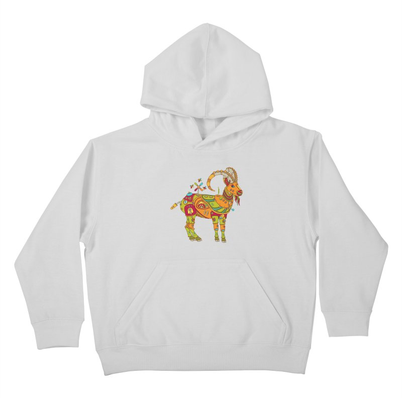 Ibex, cool wall art for kids and adults alike Kids Pullover Hoody by AlphaPod