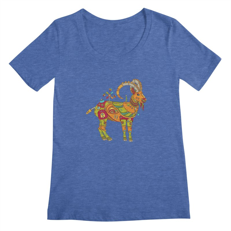 Ibex, cool wall art for kids and adults alike Women's Scoopneck by AlphaPod