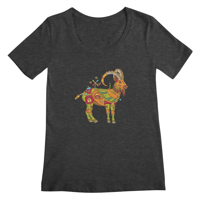 Ibex, cool art from the AlphaPod Collection Women's Scoopneck by AlphaPod