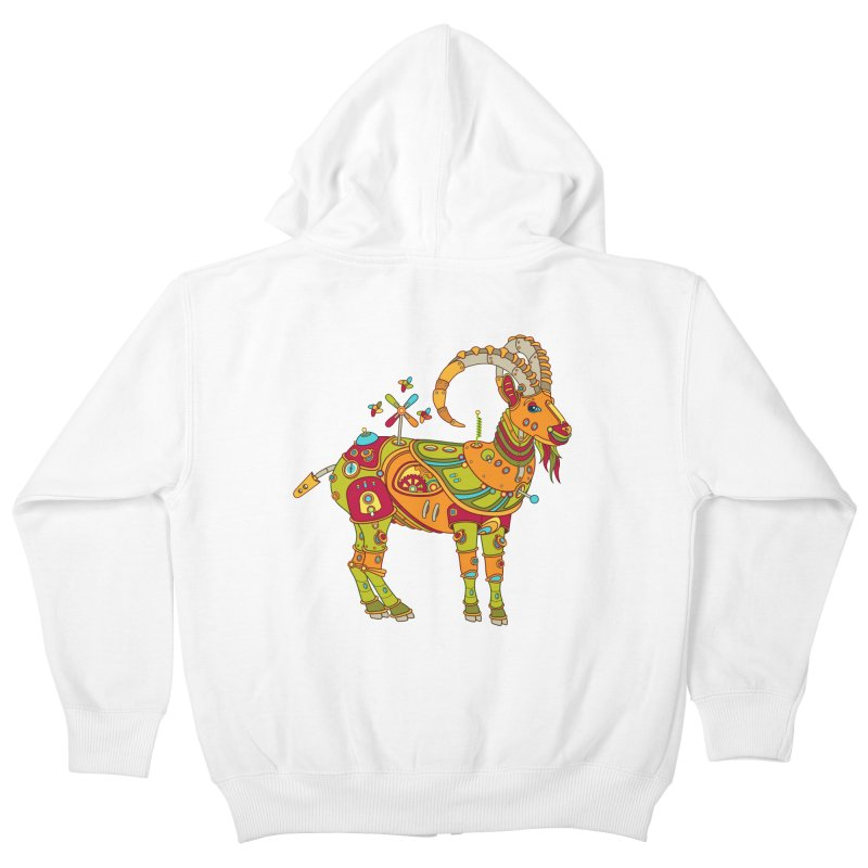 Ibex, cool wall art for kids and adults alike Kids Zip-Up Hoody by AlphaPod