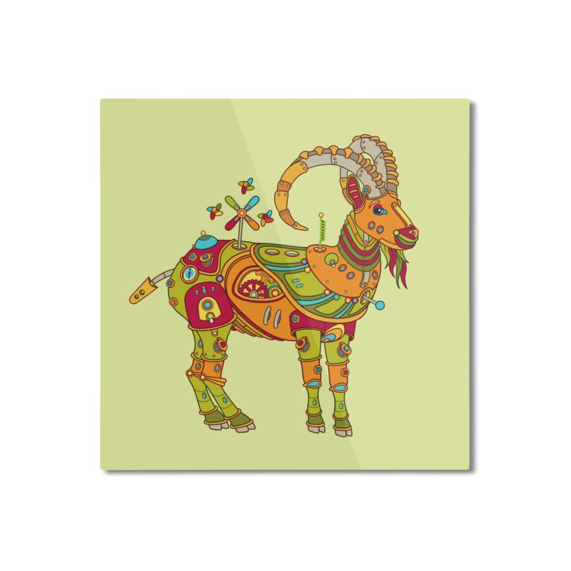 Ibex, cool wall art for kids and adults alike Home Mounted Aluminum Print by AlphaPod
