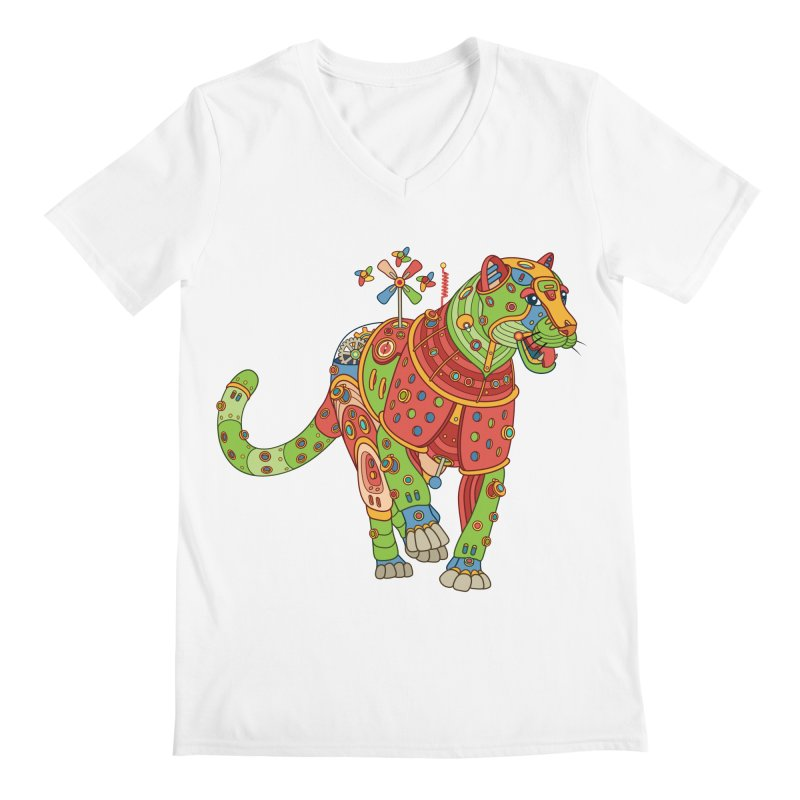 Jaguar, cool art from the AlphaPod Collection Men's V-Neck by AlphaPod
