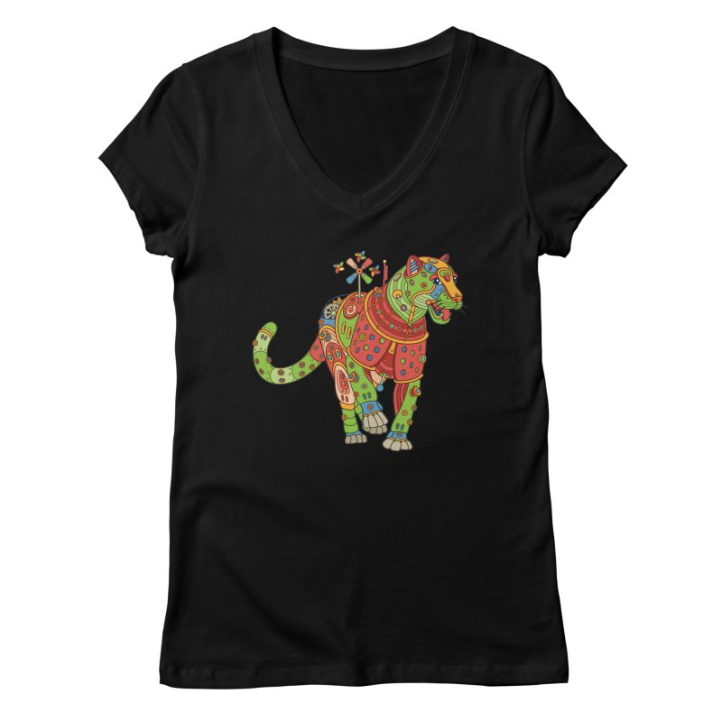 Jaguar, cool art from the AlphaPod Collection Women's V-Neck by AlphaPod