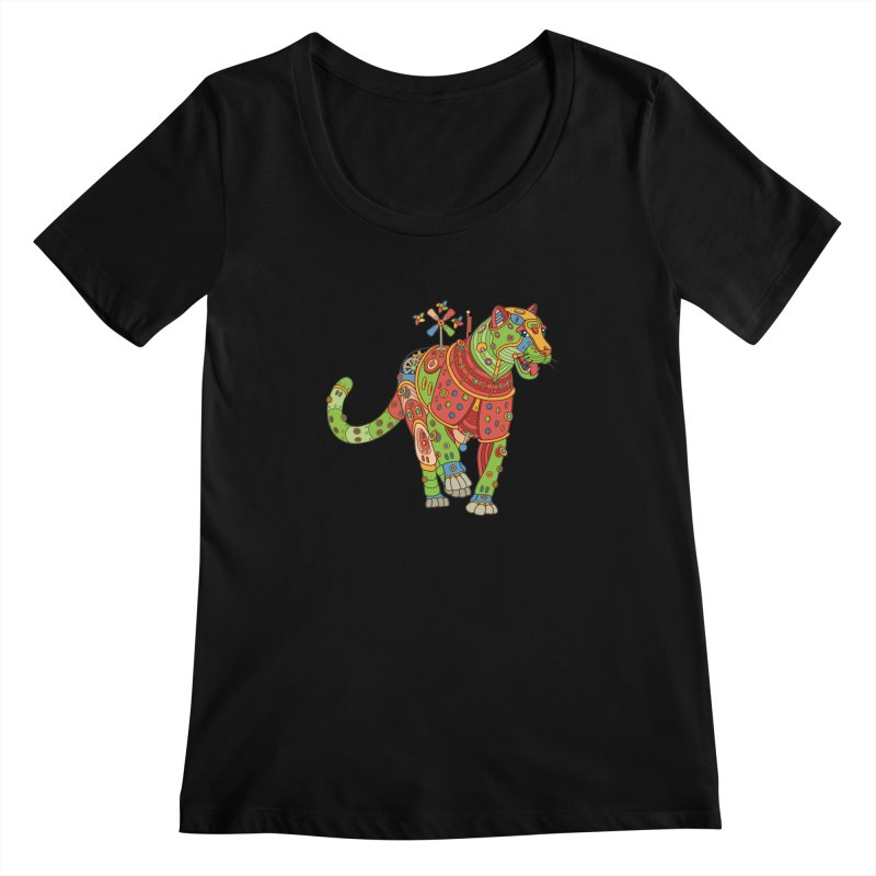 Jaguar, cool wall art for kids and adults alike Women's Scoopneck by AlphaPod