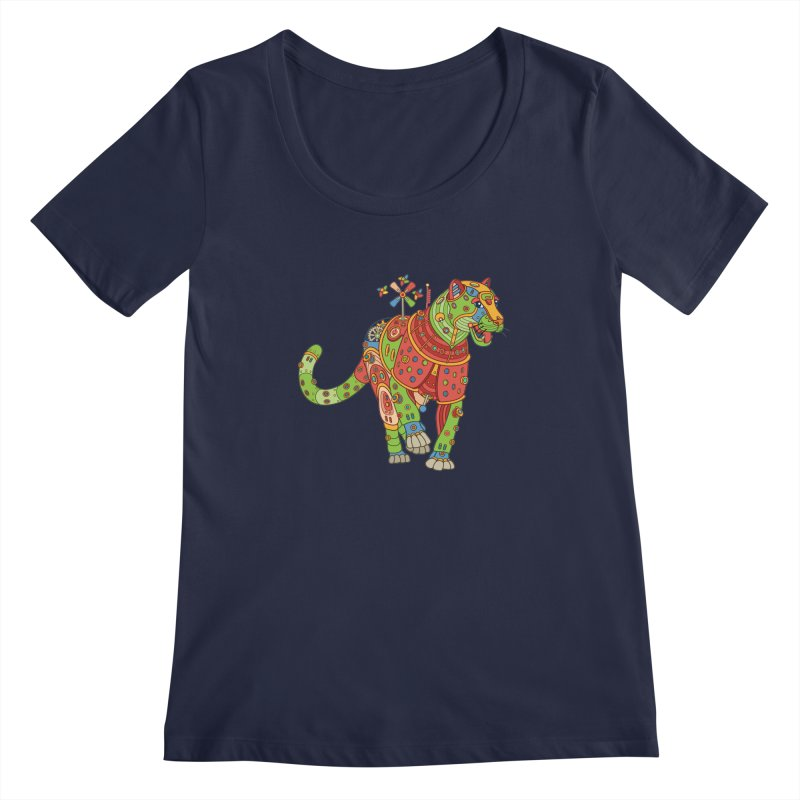 Jaguar, cool art from the AlphaPod Collection Women's Scoopneck by AlphaPod