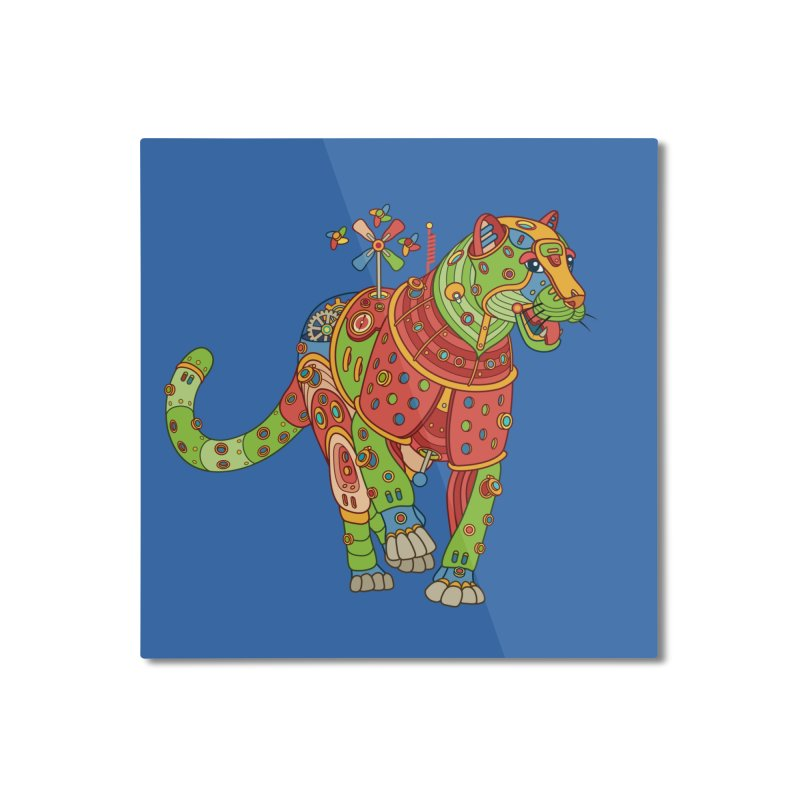 Jaguar, cool wall art for kids and adults alike Home Mounted Aluminum Print by AlphaPod