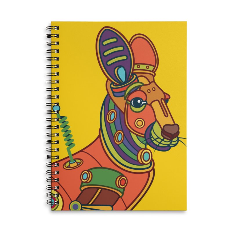 Kangaroo, cool art from the AlphaPod Collection Accessories Lined Spiral Notebook by AlphaPod