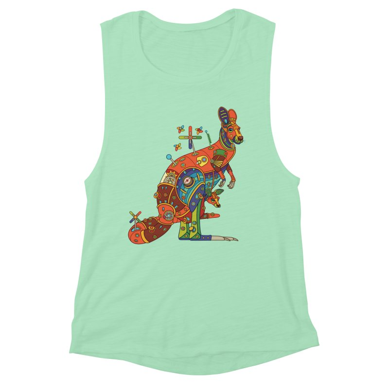 Kangaroo, cool art from the AlphaPod Collection Women's Muscle Tank by AlphaPod