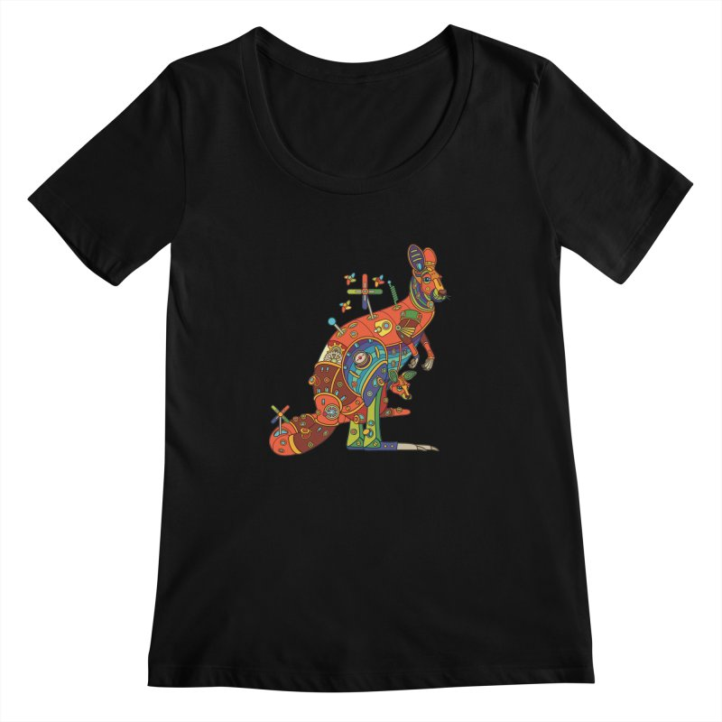 Kangaroo, cool art from the AlphaPod Collection Women's Regular Scoop Neck by AlphaPod