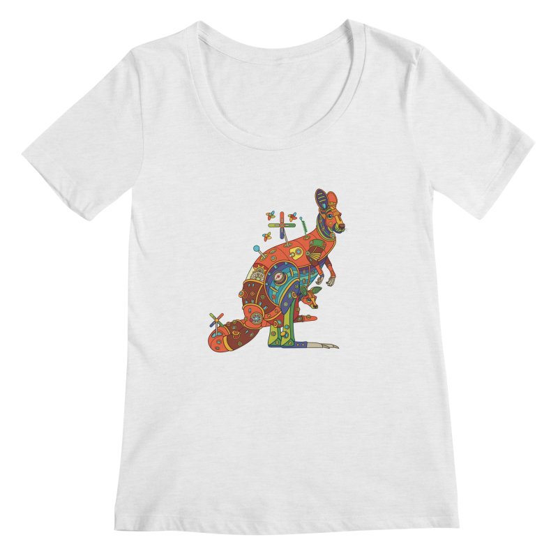 Kangaroo, cool art from the AlphaPod Collection Women's Scoop Neck by AlphaPod