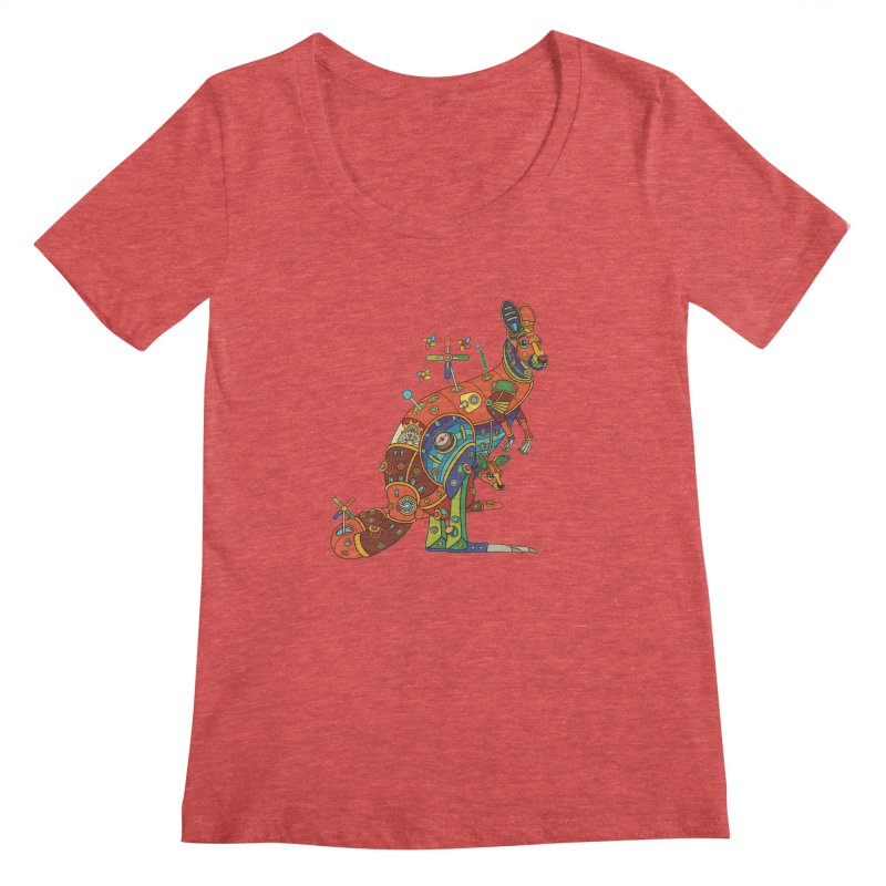 Kangaroo, cool art from the AlphaPod Collection Women's Scoopneck by AlphaPod