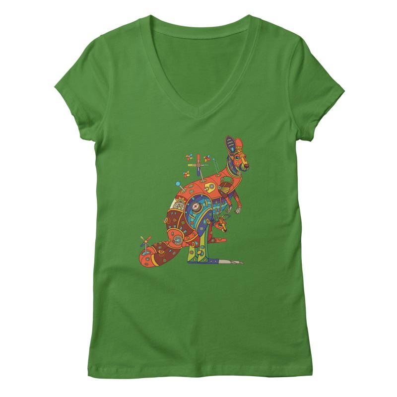 Kangaroo, cool art from the AlphaPod Collection Women's Regular V-Neck by AlphaPod