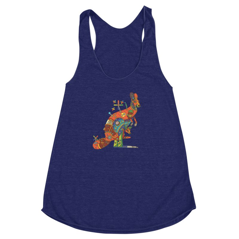 Kangaroo, cool art from the AlphaPod Collection Women's Racerback Triblend Tank by AlphaPod