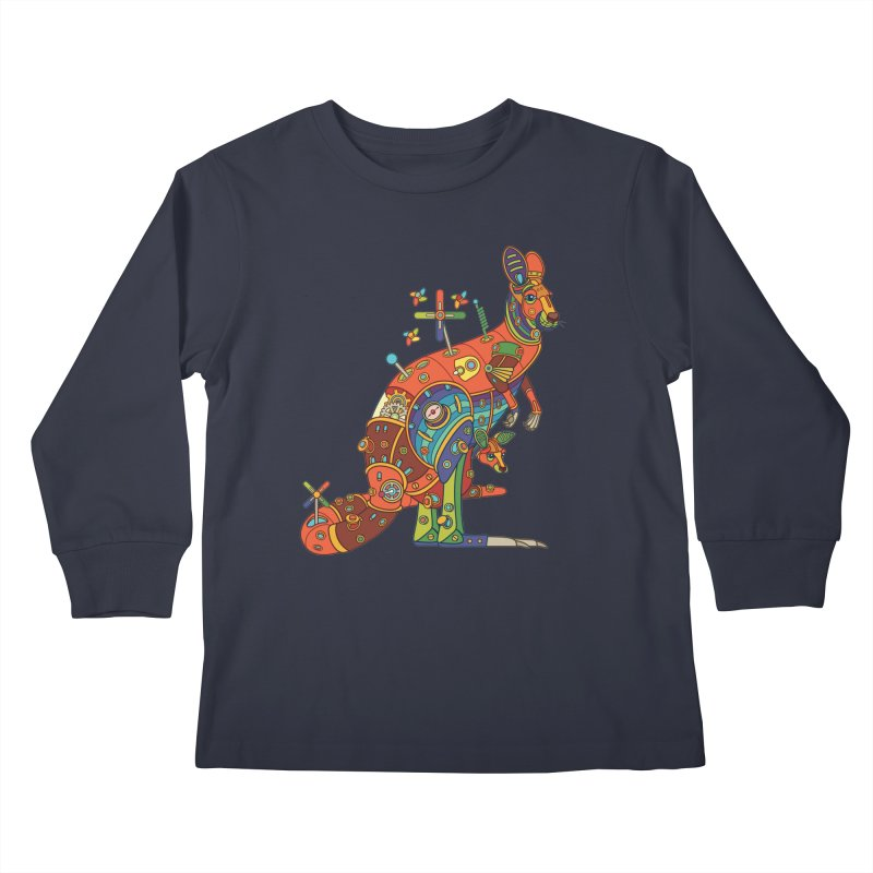 Kangaroo, cool art from the AlphaPod Collection Kids Longsleeve T-Shirt by AlphaPod