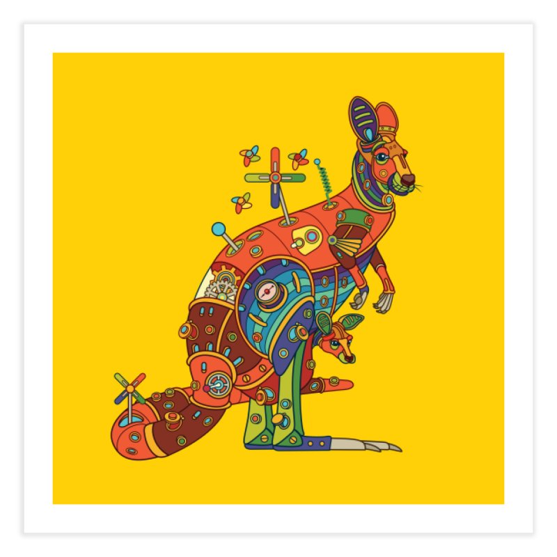 Kangaroo, cool wall art for kids and adults alike Home Fine Art Print by AlphaPod