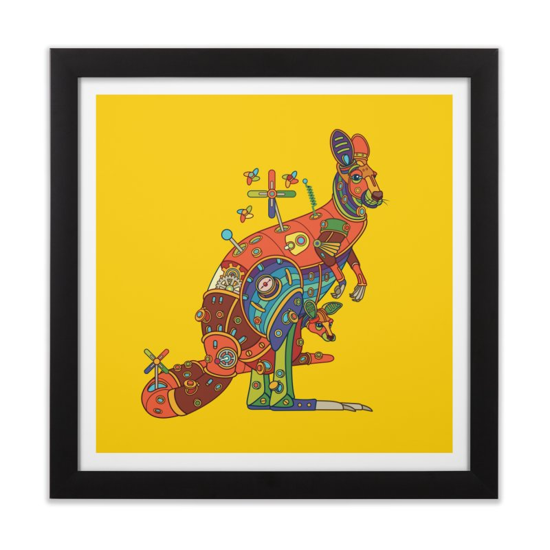 Kangaroo, cool art from the AlphaPod Collection Home Framed Fine Art Print by AlphaPod