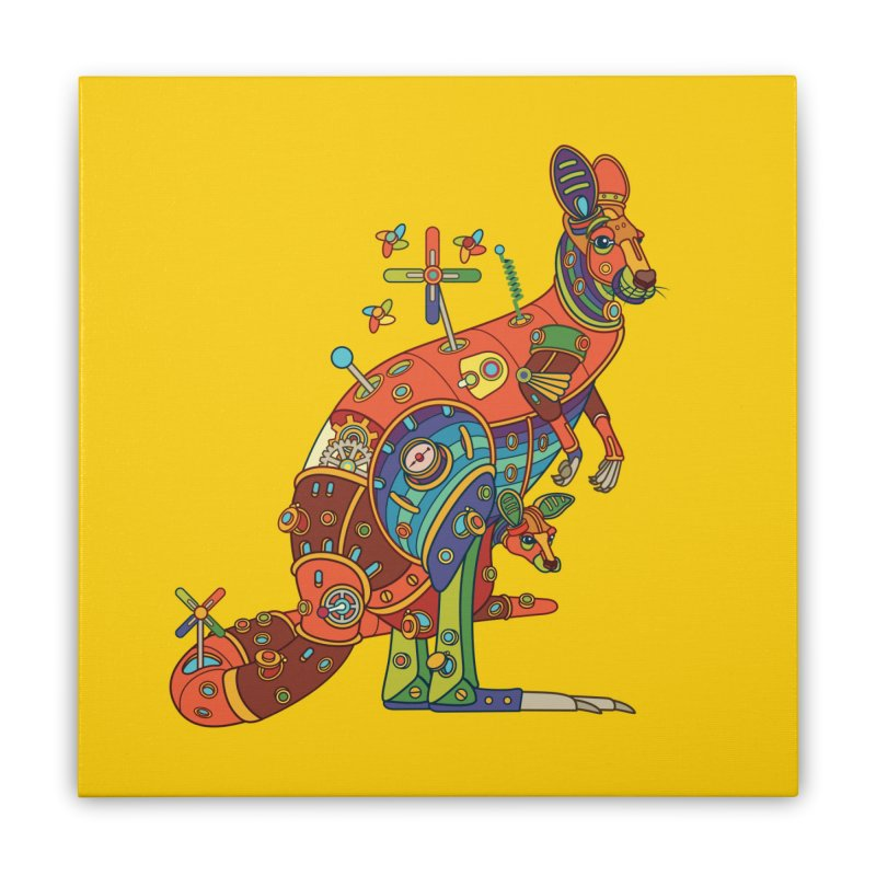 Kangaroo, cool wall art for kids and adults alike Home Stretched Canvas by AlphaPod