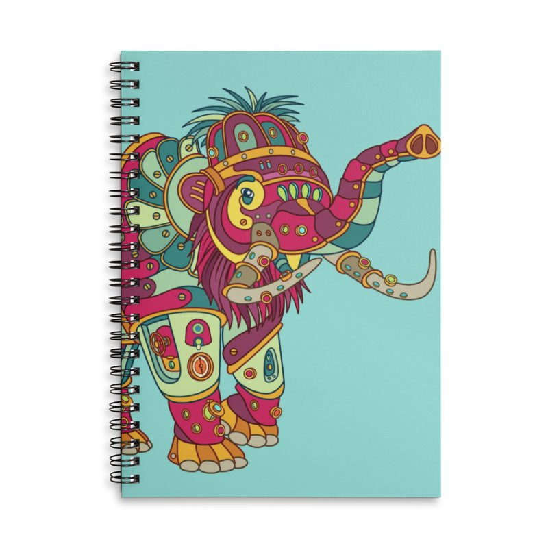 Mammoth, cool art from the AlphaPod Collection Accessories Lined Spiral Notebook by AlphaPod