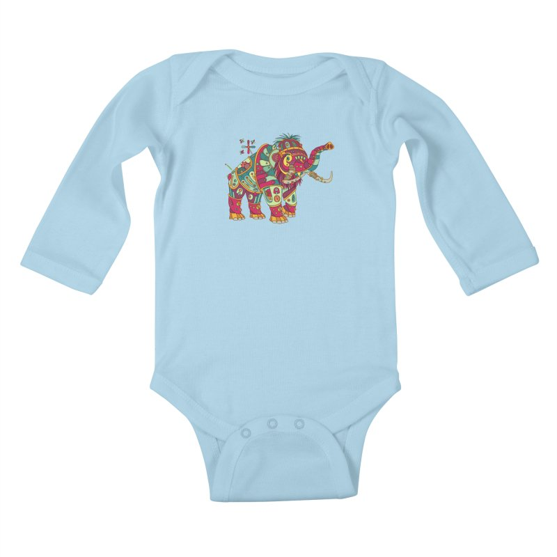 Mammoth, cool wall art for kids and adults alike Kids Baby Longsleeve Bodysuit by AlphaPod