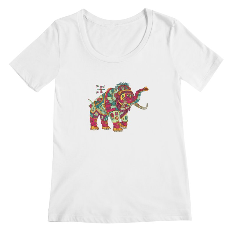 Mammoth, cool wall art for kids and adults alike Women's Scoopneck by AlphaPod