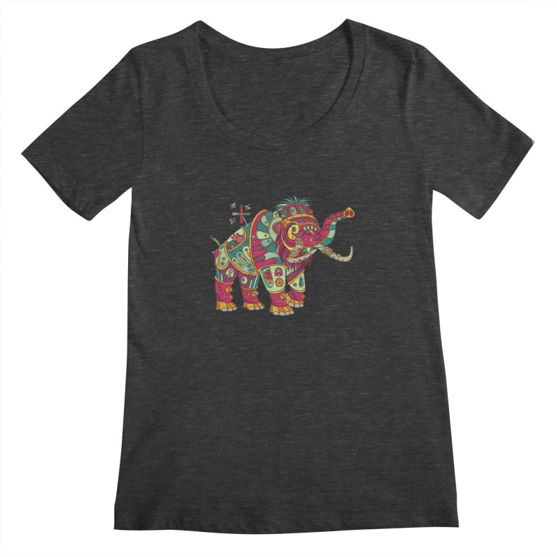 Mammoth, cool art from the AlphaPod Collection Women's Scoopneck by AlphaPod